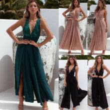 -Women Summer Chiffon V Neck Jumpsuit Long Wide Pant Playsuit Sequin Dresses on JD