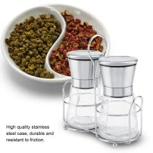 -Greensen 2PCS/Set Stainless Steel Manual Pepper Spice Salt Grinder Grinding Machine Comes with Shelf on JD