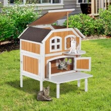 -Ktaxon 2-Story Fir Wood  Cat Cottage Pet House Indoor Outdoor Kennel Furniture Yellow on JD