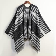 -New Fashion Women Knitted Cape Poncho Open Front Striped Fringe Tassel Vintage Warm Cashmere Shawl Scarf Grey/Red on JD