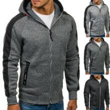 -New Plain Mens Hoodie Fleece Zip Up Hoody Jacket Sweatshirt Hooded Zipper Top on JD