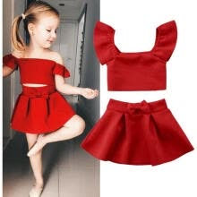 9649cb9054 Newborn Kids Baby Girl Party Off Shoulder Crop Tops Skirt Outfits Clothes  Summer