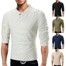 -Hot Sale Mens Fashion Long Sleeve T-Shirt Casual Linen Tops Shirt Pullover Muscle Tee on JD