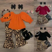 -US Newborn Baby Kid Girl Leopard Cotton Tops T-shirt Flared Pants Outfit Clothes on JD