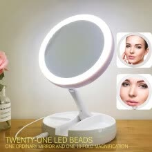 -NeillieN multi-functional cosmetic mirror,Rechargeable table lamp, double-sided mirror, folding LED mirror,Makeup lamp on JD
