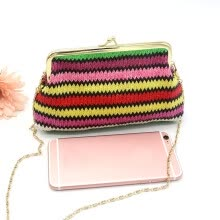 -Tailored Ladies Knitting Rainbow Pattern Wallet Shoulder Bag C on JD