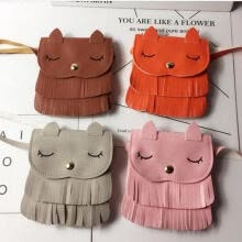 -New Lovely Kids Girls PU Leather Tassel Small Cat Shoulder Messenger Bag Purses on JD