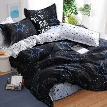 -Black star Bed Linens High Quality 3/4pcs Bedding Set duvet Cover Flat bed sheet pillowcase soft Twin Single full queen king on JD