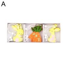 -9Pcs Wooden Easter Rabbit Carrot Egg Chick Butterfly Hanging Ornament Home Decor on JD