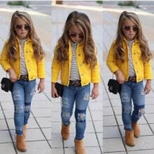 -US Princess Kids Baby Girls Boys Denim Jacket Button Coat Outerwear Tops Clothes on JD