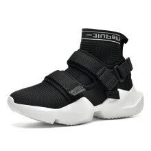 -Men's shoes, fashion stretch cloth, flying woven running shoes, high-top sneakers, Velcro socks, tide shoes on JD