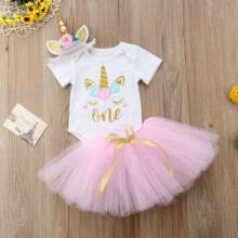 -Canis 3PCS Toddler Kid Baby Girls Unicorn Romper Tutu Skirts Dress Outfits Set on JD
