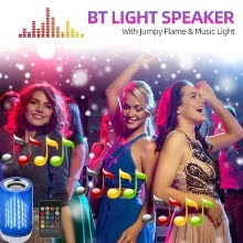 -BT Light Speaker Jumpy Flame Music Light Intelligent E26 Smart RGB Light Audio Music Bulb for Home Party Bar on JD