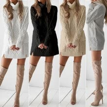 -Fashion Women Casual Long Sleeve Turtleneck Sweater Knit Mini Skirt Pullovers Dress on JD