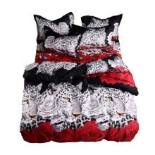 -4pcs/set Queen Bedding Set 3D Animal Leopard & Rose Printed Pattern Duvet Cover & Bed Sheet & 2pcs Pillowcase Bedclothes Bedroom D on JD
