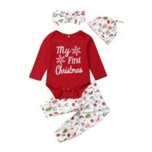 -Newborn Baby Girl Boy My First Christmas Costume Romper+Hat Clothes Outfits 4Pcs on JD