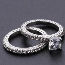-Women Engagement Wedding 2Pcs Ring Set Cubic Zirconia Silver Ring Jewelry 5-11 on JD