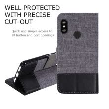 Goowiiz Phone Case For Xiaomi Redmi 6/6A/6 Pro/A2 Lite/S2/Y2 Fashion Canvas Leather Wallet Full package flip Holder Stand