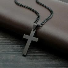 -Bluelans Stainless Steel Cross Pendant Men Women Chain Necklace Religious Jewelry Gift on JD