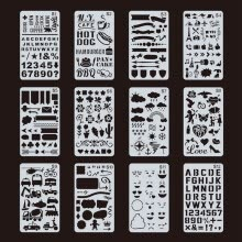 -24pcs/set  Mixed Pattern Cutout Print Templates Kit Plastic Planner Stencils Journal Account Template For Crafts Diary Notebook on JD