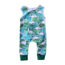 -02T Summer Hot Sale Baby Boy Casual Jumpsuit Infant Kids  Cartoon Dinosaur Sleeveless Bodysuit Newborn Newly Fashion Clothing on JD