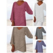 -Women's Stripe V Neck Long Sleeve Blouses Baggy Tops Tunic T Shirts Plus Size UK on JD