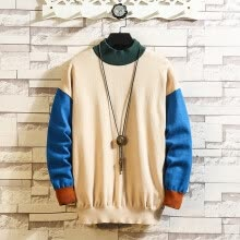 -Men's Casual Color Collision Patchwork O-Neck Long Sleeve Knitted Sweater Tops on JD