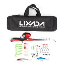-Lixada Portable 1.4m Telescopic Fishing Rod and Closed Fishing Reel Fishing Lure Jig Head Hook Barrel Swivel Combo on JD