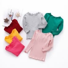 -Autumn Baby Girls Clothes Long Sleeve Solid T-shirt Kids Tops Cotton T-shirts Casual Blouse Spring on JD