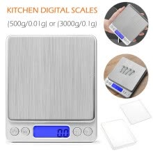 -Digital Kitchen Scale 500g/ 0.01g and 3000g/0.1g Mini Pocket Jewelry Scale Cooking Food Scale with Back-Lit LCD Display on JD