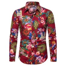 -Tailored Men's Summer Fashion Business Leisure Printing Long-sleeved Shirt Top Blouse on JD
