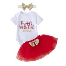 wedding-guest-dresses-Cute Baby Girls 1st Valentine's Day Tops Romper Tutu Skirt Dress Outfits Clothes on JD