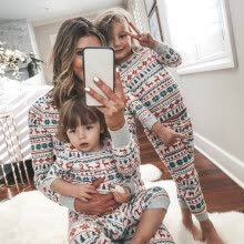 -Christmas Clothing Set Children Clothing Christmas Family Parent-child Suit Printing Home Service Cotton Soft Two-piece Pajamas on JD
