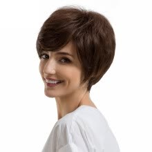 -Gobestart Natural Women Short Texture BrownHair Wigs Slight Wig Human Hair Female Wigs on JD