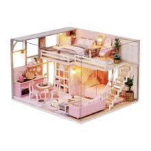 -Siaonvr 3D Wooden Dollhouse Teenage Style DIY Miniature Model Christmas Gifts Toys on JD