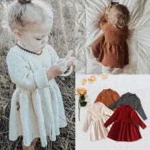 -US Toddler Baby Girls Dresses Solid Long Sleeve Winter Fall Skirts Clothes 0-5Y on JD