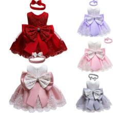 Baby Girls Christmas Red Ivory Christening Party Wedding Bridesmaid Dress 0-24m