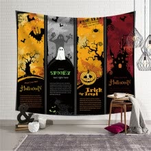 -Sugar Skull Tapestry Halloween Trick Treat Horror Ghost Wall Hanging Home Decor on JD