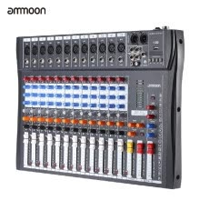 -ammoon 120S-USB 12 Channels Mic Line Audio Mixer Mixing Console USB XLR Input 3-band EQ 48V Phantom Power with Power Adapter on JD