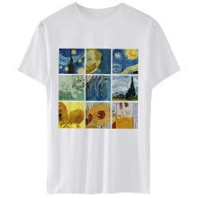 -Women Van Gogh Painting Vintage T-Shirt Tumblr Grunge Aesthetic Printed Tee Short Sleeves White Tops Funny Shirts on JD