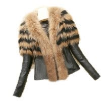 fur-Women Faux Leather Jacket Fur Trim Spliced Long Sleeve Short Length Zipper Fashion Slim Streetwear 2018 Autumn Winter Warm Coat on JD