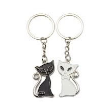 -Hot Sale Cute Couple Cat Keychain Fashion Enamel Jewelry Ornament Key Chains on JD