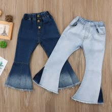 -Fashion Infant Kid Baby Girl Bell-Bottoms Pants Denim Wide Leg Jeans Trousers on JD