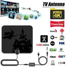 home-theater-NEW 1180 Mile 4K Digital HDTV Antenna Indoor Amplified TV Antenna, Halloween Christmas Signal Booster With DVB-T2 Freeview TV on JD