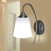 -Indoor Wall Light Fixture Modern Bedroom Bedside Lamp Glass Material Shade White on JD