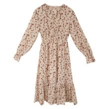 -Long Sleeve Women Dress 2020 Vintage V-Neck Floral Print Tunic Dresses High Waist Casual A-line Party Club Dress Vestidos on JD