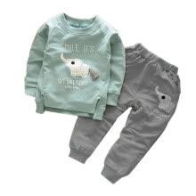 bf2242bb21117 2017 Summer Kids Clothing Sets Baby Boys Girls Cartoon Elephant Cotton Set  Winter Children Clothes Child T-Shirt+Pants Suit