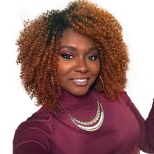 -AISI HAIR Synthetic Ombre Brown Short Wigs for Black Women Afro Kinky Curly African American Hair on JD