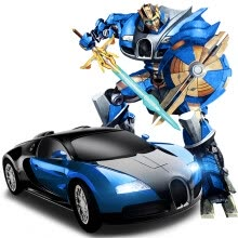 -Beauty induced model (MZ) remote control car Bugatti Ares charging box large size induction deformation 5 generation King Kong car child boy toy car robot blue on JD