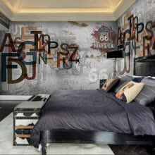 -Custom 3d mural 3D solid English letter gray wall wallpaper relief clothing store cafe wall paper dining room mural wallpaper on JD
